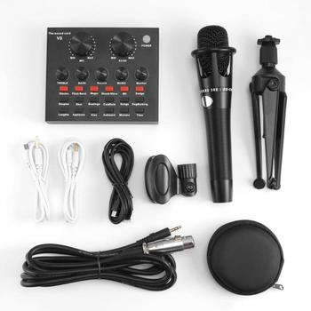 Computer Microphone Headset | V8 Audio USB Headset Double Channel Microphone Earphone Webcast Streamer Live Sound Card Cable Set For Phone Computer PC