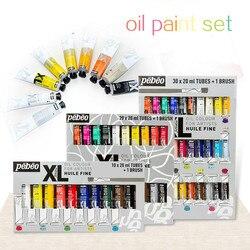 Pintura a óleo tubular 20ml conjunto pigmento iniciante pintura à mão tingimento revestimento arte suprimentos artigos 10/12/20/30 cor escova