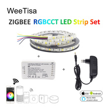 Smart LED Strip Light RGBCCT 5M SMD 5050 Flexible Waterproof 12V Tape Stripe Ribbon with Zigbee ZLL Link RGBWW Controller