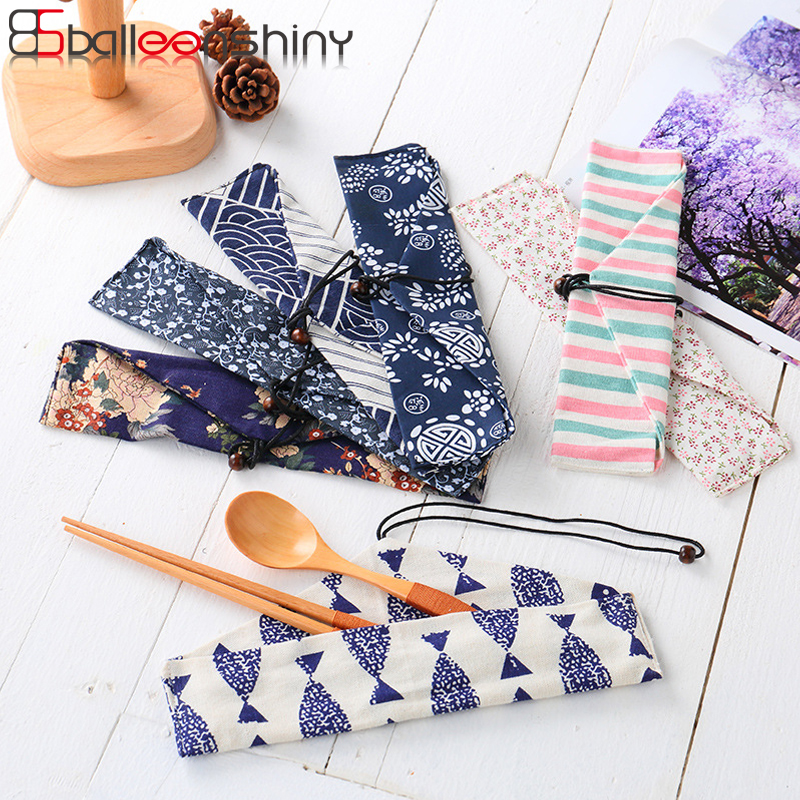 Radient Balleenshiny Tableware Set Storage Cloth Bag Chopsticks Spoon Forks Portable String Pouch Outdoor Picnic Bbq Cutlery Organizer Good For Antipyretic And Throat Soother Utensils Kitchen,dining & Bar