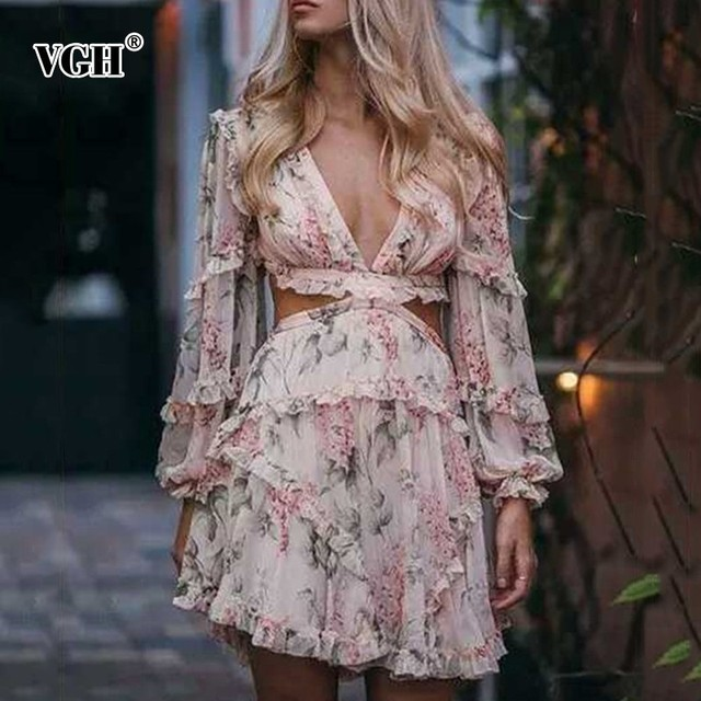 VGH Sexy Print Dress V Neck Hollow Out Lantern Sleeve High Waist Fashion Casual Mini Dresses For Women Autumn Fashion Clothes