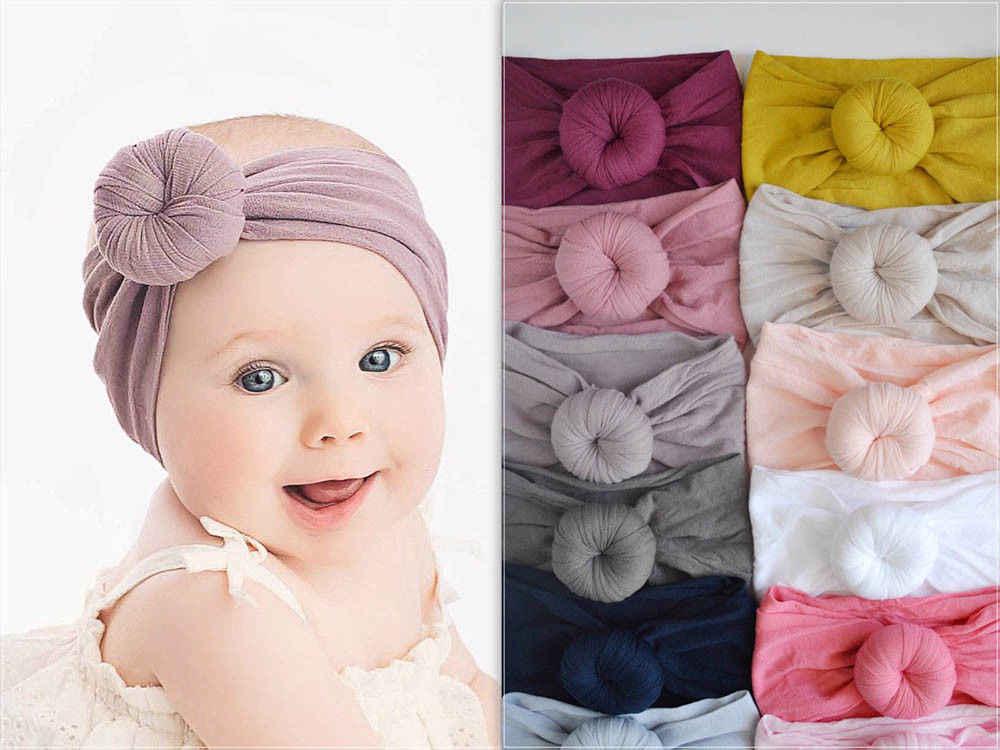 d5e1b8e95 21 Color bebé algodón niños turbante nudo Bunny oído sombrero cabeza diadema  2019 envío de la