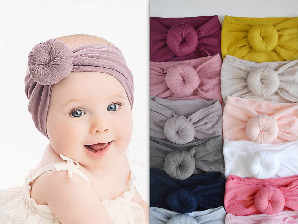 21 Color Toddler Infant Baby Kids Cotton Turban Knot Bunny Ear Hat Head Wrap Headband 2019 Drop shipping
