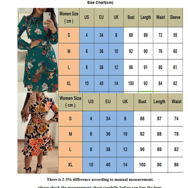 1fa84a09b0053 US $8.86 17% OFF|hirigin Women Autumn Retro Floral Dress Long Sleeve O Neck  Strap Ruffles Knee Length Dress Party Formal Dress-in Dresses from Women's  ...