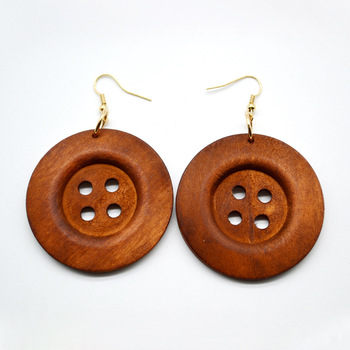 SPINNER Fashion Personality Exaggeration Temperament Earring Round Wooden Buttons Earrings For Women Jewelry Gift Accessories пандора браслет с шармами