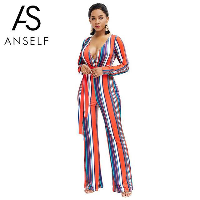 b4175dbd76b Fashion Women Jumpsuit Striped Print V Neck Long Sleeve Wide Leg Pants  Belted Rompers Playsuit Overalls