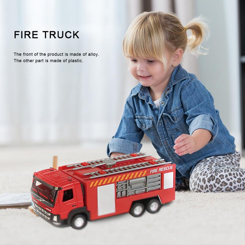 Alloy Car Fire Fighting Truck Sliding Ladder Fire Truck Water Spray Pull Back Car Carefully Selected Materials
