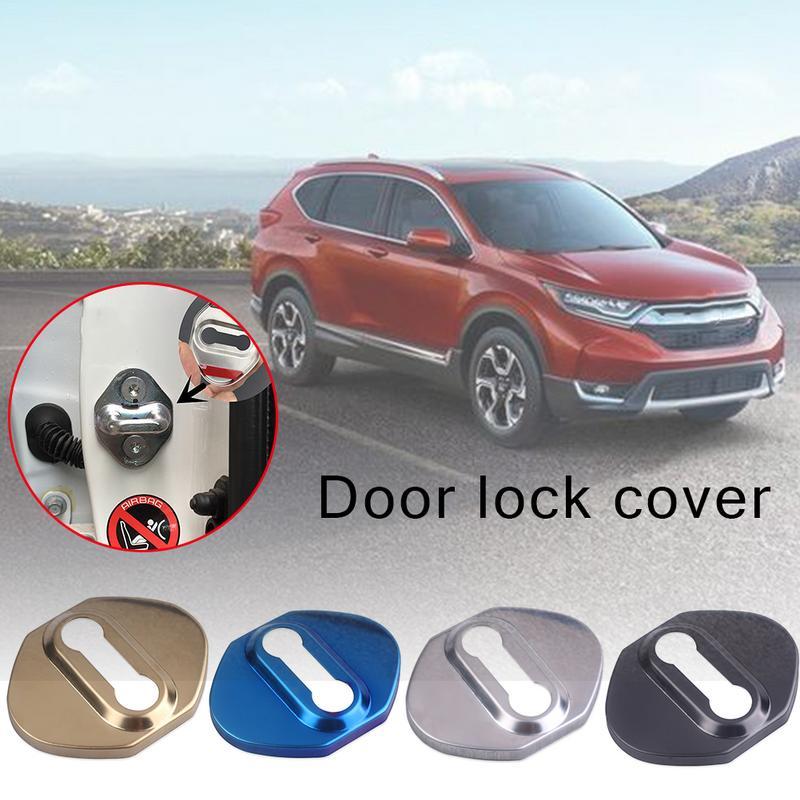 Door Lock Cover 4Pcs Stainless Steel Buckle Door Lock Protector Cover Buckle For Honda CRV 2012-2018