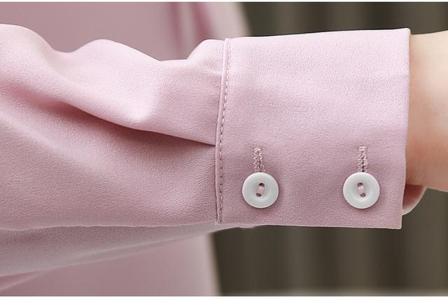 Fashion womens tops and blouses plus size chiffon blouse shirt bow collar office blouse long sleeve women shirts blusas 2236 50