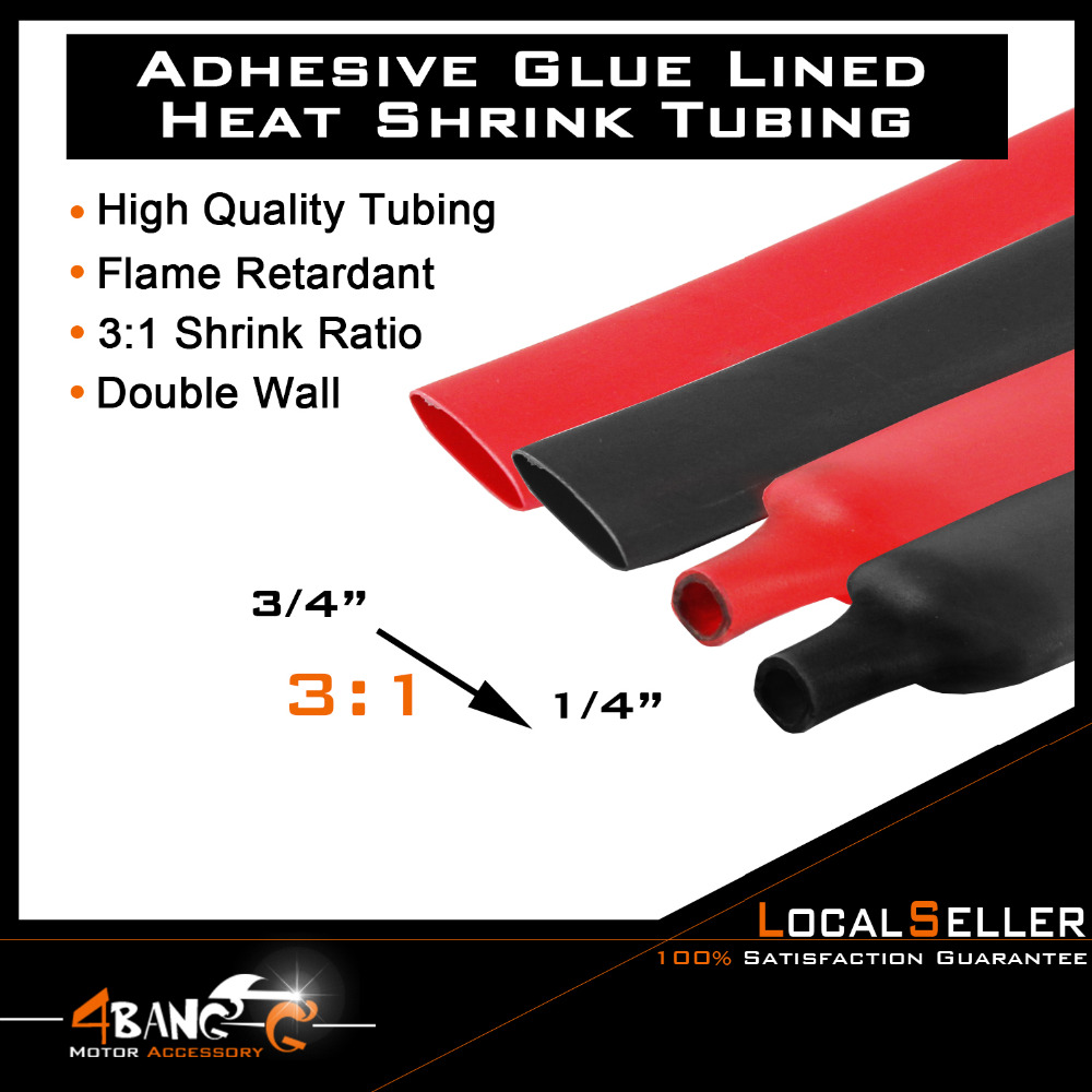 """1//4/"""" BLACK 100 FT Dual-Wall Adhesive Lined 3:1 Heat Shrink Tubing"""