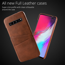 For Samsung Galaxy S10 5G Case Calf Grain PU Leather Hybrid PC Back Cover with 2 Card Slots Protective for Samsung S10 5G Case protective lychee pattern pu leather case w card slots holder for samsung galaxy note 3 black