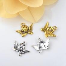 Collares de aleación de Zinc chapados en oro antiguo, 10 Uds., 20x11MM, dijes de Ángel, joyería hecha a mano Diy