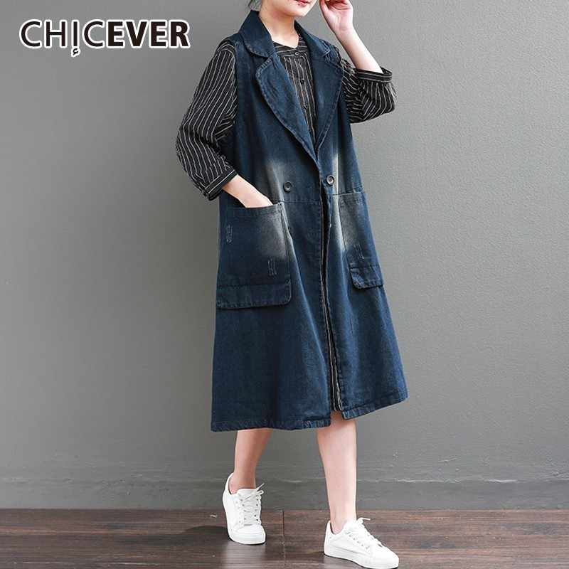 3b4be6ebc20 CHICEVER Double Breasted Denim Vest Jacket For Women Lapel Sleeveless Loose  Oversize Vintage Long Waistcoat Female