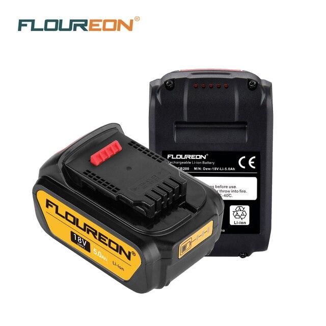 FLOUREON 18V 5.0Ah Battery Compatible With DEWALT 18V DCB200, DCB181,DCB182,DCB184 DCD780 DCD785 DCD795 DCF885 DCS380 DCS391 Saw