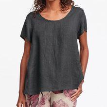 цена ZANZEA Women Casual Loose Shirt Blouse 2019 Summer Ladies Short Sleeve Blusas Cotton Linen Tops Plus Size Solid Blusa Feminina