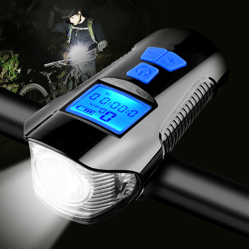 Waterproof Bicycle Light USB Charging Bike Front Light Flashlight Handlebar Cycling Head Light w/ Horn Speed Meter LCD Screen(China)