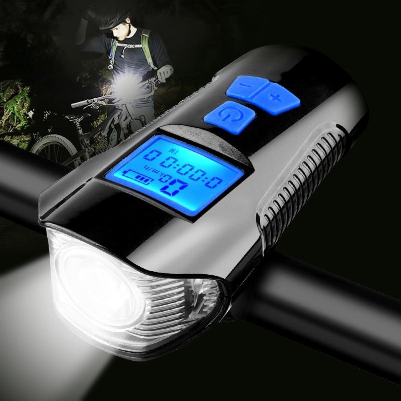 Impermeable luz de la bicicleta USB de carga de luz delantera de bicicleta linterna manillar ciclismo luz w/cuerno medidor de velocidad de pantalla LCD de pantalla