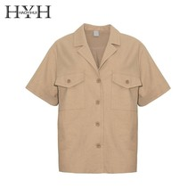 HYH HAOYIHUI 2019 Casual Style Solid Color Handsome Suit Collar Multi-pocket Decorative Personality Tooling Shirt