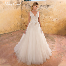 Ashley Carol A-Line Wedding Dress 2019 V-neck Sleeveless