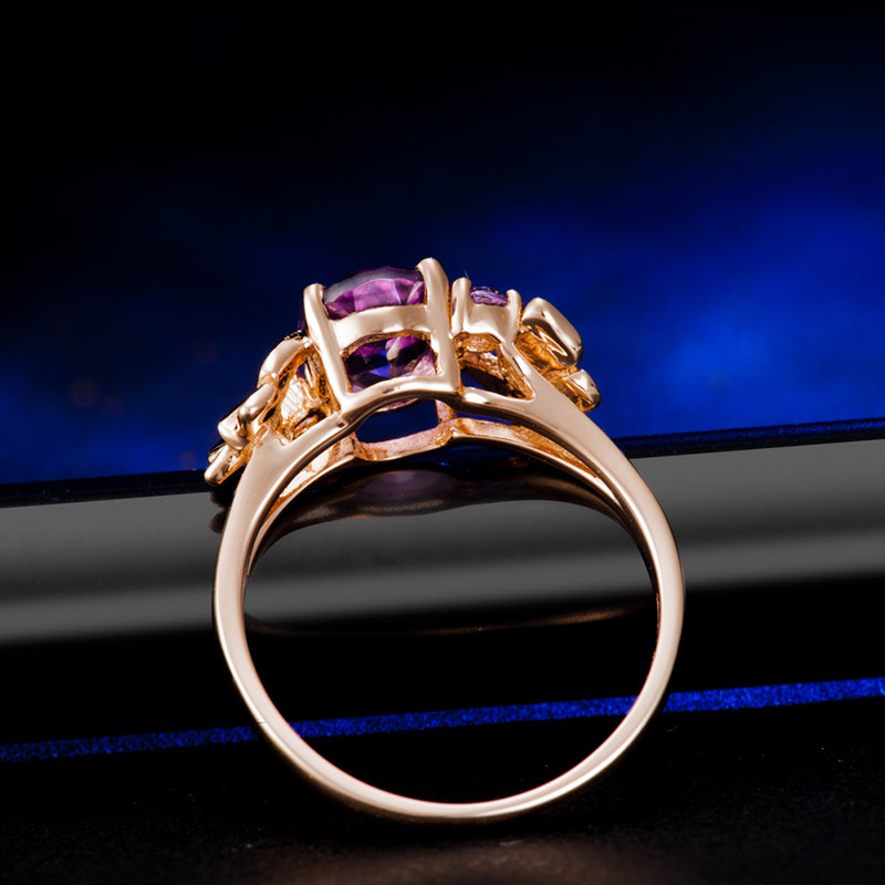 Droplet Ring Sapphire Trendy Ring Rose 18K Gold Aquamarine Party Wedding Amethyst jade Ring for Women Fine Anillos De Jewelry in Rings from Jewelry Accessories