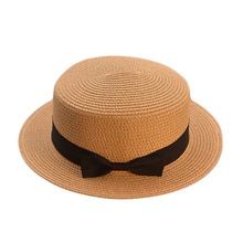 Parent-child Beach Sun Hat Fedoras bow women straw cap beach big brim hat summer Women Wide Brim Straw Panama Roll up