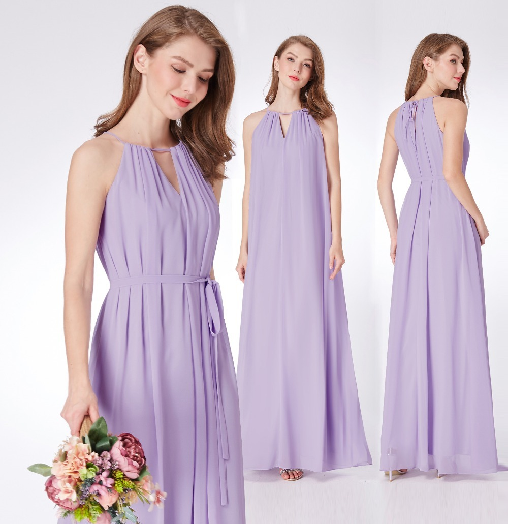 Lavender Chiffon   Bridesmaid     Dresses   Ever Pretty EP07284 New Arrival Halter A-line Sleeveless Simple Long Elegant Party   Dresses