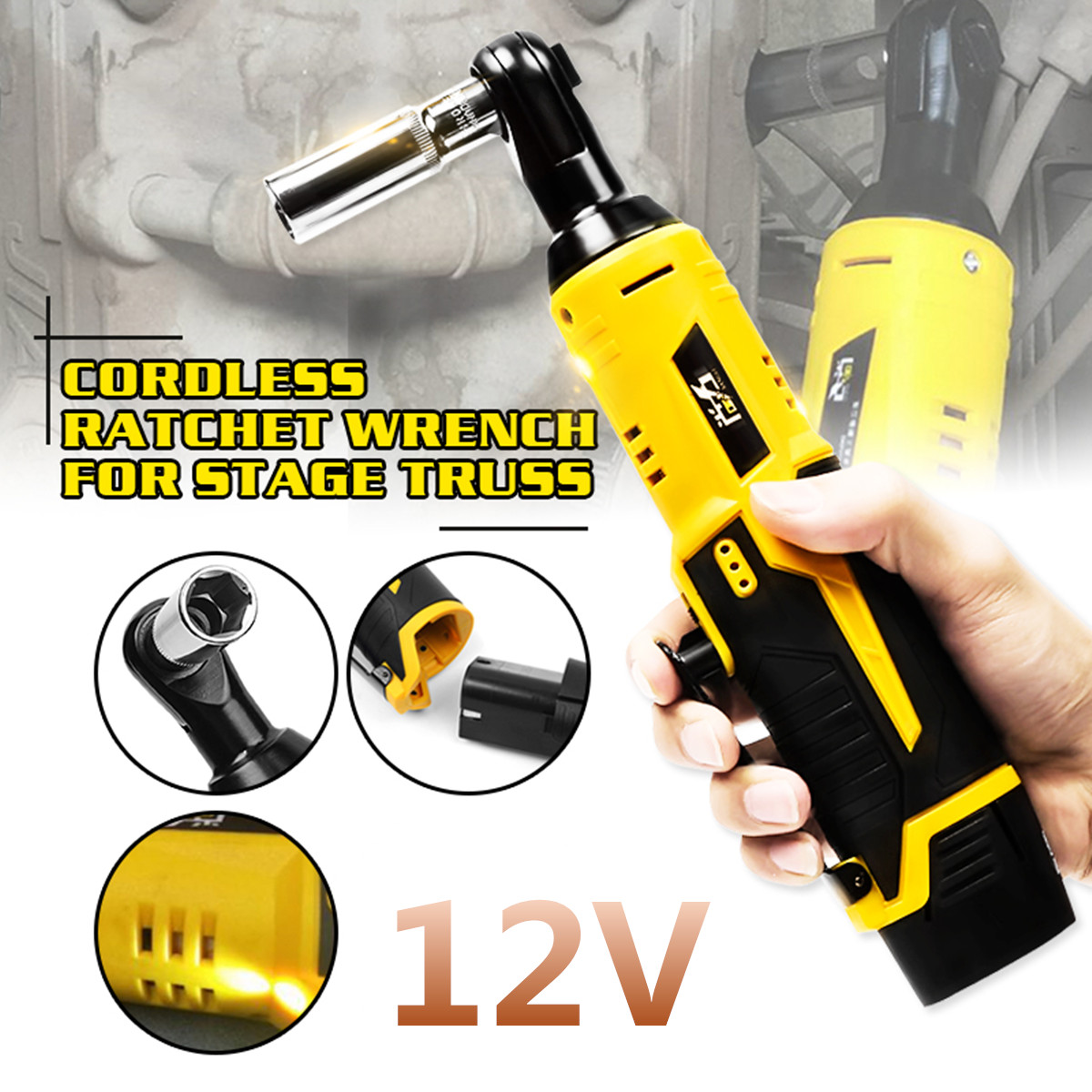 12V 35NM LED Cordless Electric Ratchet Wrench 3/8 inch Rechargeable Right Angle Wrench Tools+Li-ion Battery for Car Repair Tool12V 35NM LED Cordless Electric Ratchet Wrench 3/8 inch Rechargeable Right Angle Wrench Tools+Li-ion Battery for Car Repair Tool