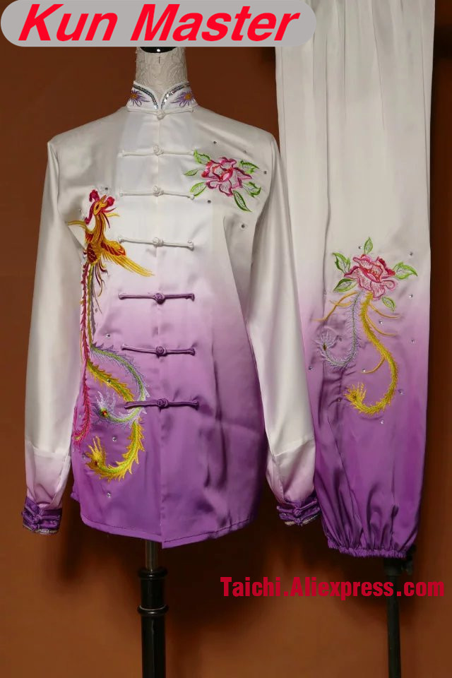 Custom Performance Tai Chi Uniform Phoenix Embroidery  Kung Fu Clothing Note Height And Weight Gradual Change Color