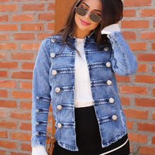 Women Fashion New Plus Size Stand Collor Street Style Long Sleeve Double-breasted Slim Blue Denim Coats and Jackets S-3xl