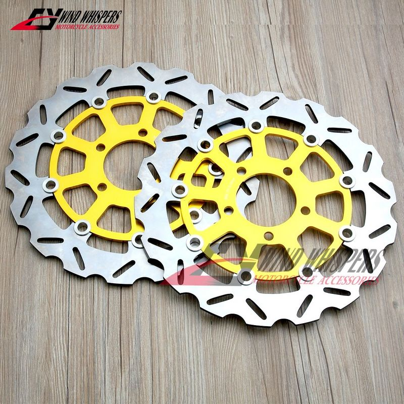 Golden Motorcycle Flower Front Brake Disc Rotor For Suzuki GSXR 1000 2001-2002 01 02 K1 GSXR 600 750 K1 K2 2001-2003 01 02 03