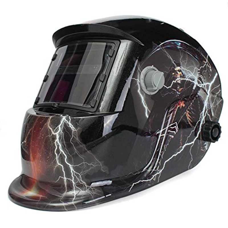 Welding Helmet Mask Solar Auto Darkening Lightning Skull Welding Mask,Adjustable Shade Range DIN 9-13/Rest DIN 4