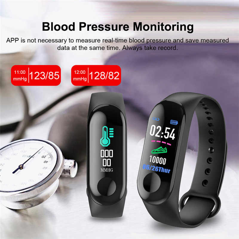 NEW M3 Smart Bracelet IPS Color Screen Heart Rate Watch Fitness Tracker with Vibrating Reminder Bluetooth Smart Wearable Device