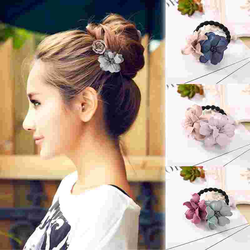 Fashion   Headwear   Flower Hair Bands Ponytail Holder Sweet Girl Kids Women Handmade Hair Ring Elastic Hair Rope