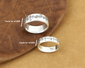 Image 5 - Handmade 925 Silver Tibetan OM Words Ring Real 925 Silver OM Mani Padme Hum Ring Buddhist words Ring Lovers