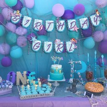 1pc Little Mermaid Party Favor Kids Birthday Decorations Supplies Happy Banner