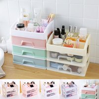 5 Colors 2 Layers Makeup Organizer Storage Box Plastic Cosmetics Drawer Container Desktop Jewelry Stationery Holder Case Bin