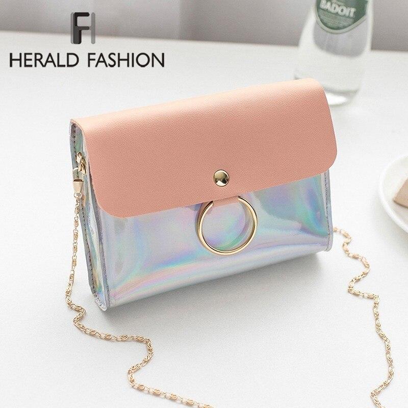 Herald Fashion Laser Crossbody Bag For Women Quality PVC Chain Mini Female Shoulder Bag Ladies' Small Messenger Flap Bag Sac