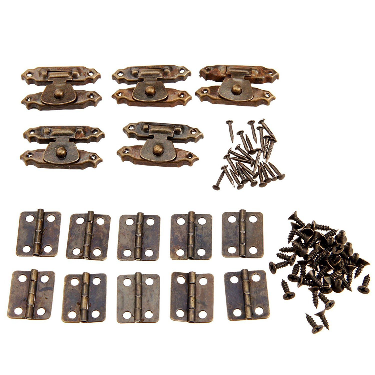5pcs Antique Bronze Antique Cabinet Door Latch Hasps Decorative With 10Pcs Retro Door Hinges
