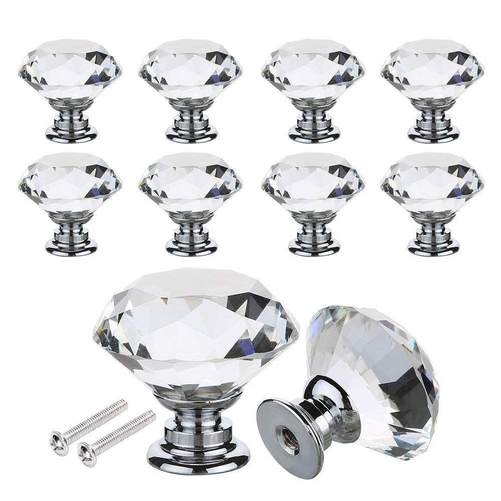 16PCS Crystal Glass Door Knobs Clear Pull Handle Zinc