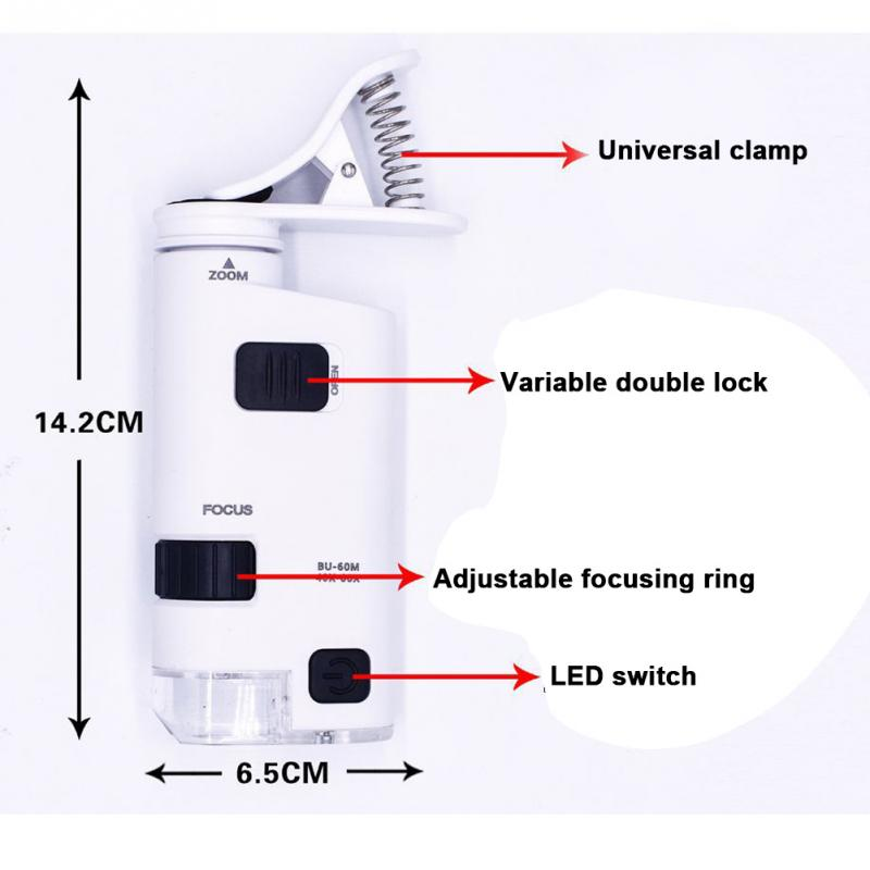 Image 3 - Universal 40 60X/80 120X Mobile Phone Microscope Jewelry Identification Adjustable Lens Zoom Cellphone Clip with LED Light 025-in Microscopes from Tools