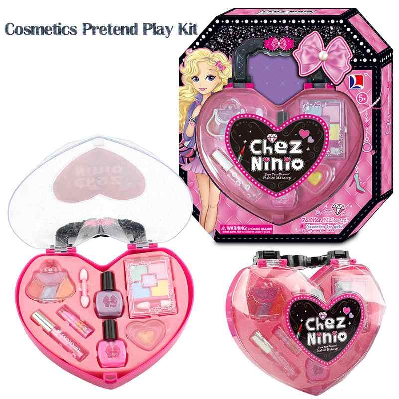 Princess Makeup Cosmetics Pretend Play Girls Makeup Beauty Toy Safe Nontoxic Kit Toys For Girls Dressing Cosmetic Travel Handbag