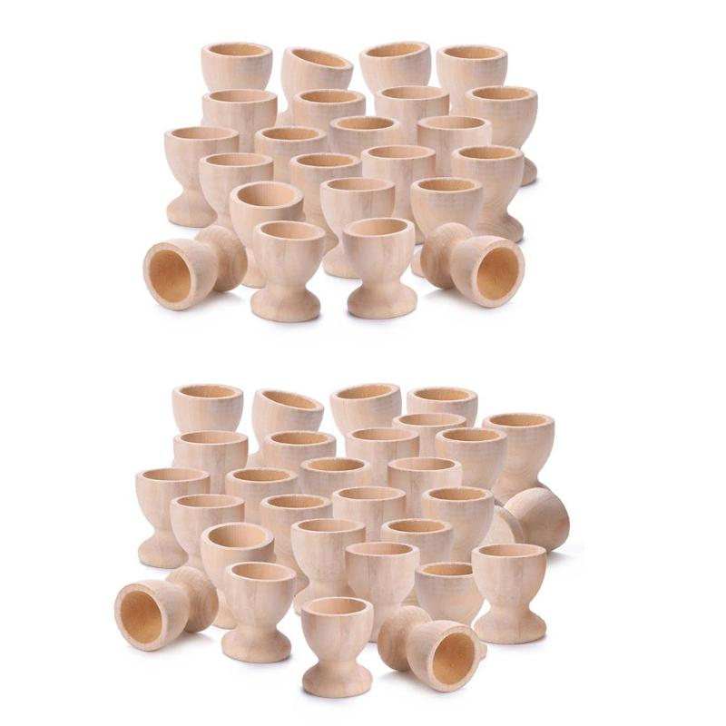 30/50pcs/Pack Wooden Easter Eggs Holder Wine Cups Easter Egg Tray Baby Kids Easter Craft Eggs Cup Box Holders for Children