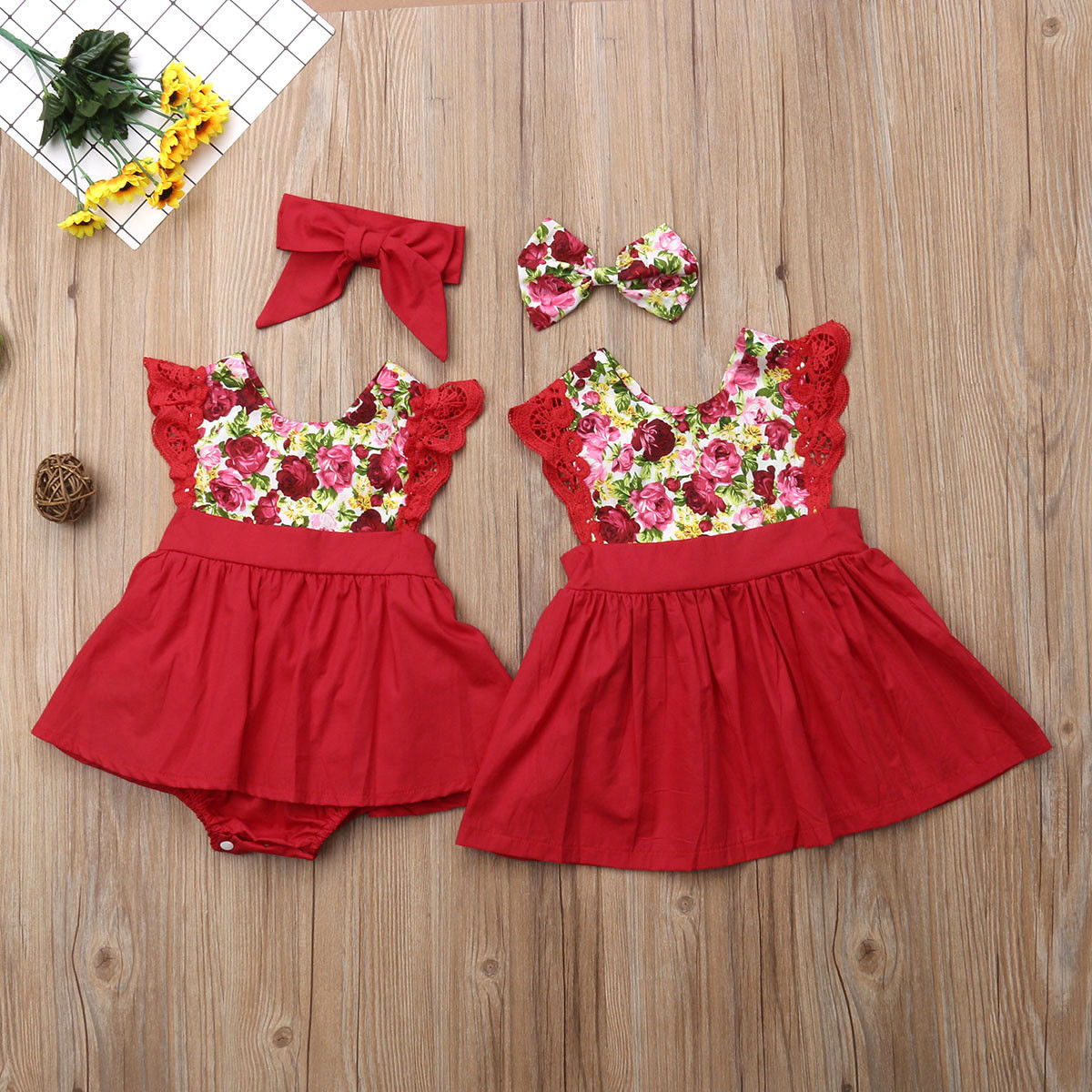 Summer Little//Big Sister Matching Clothes Baby Girl Floral Romper Dress Outfit