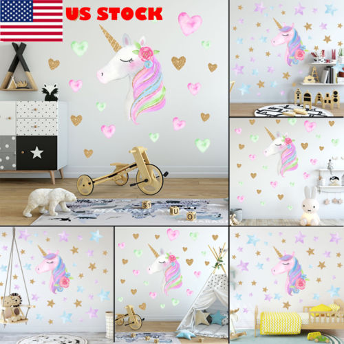 US Fantasy Unicorn Stars Wall Sticker Vinyl Wall Decal Kid Children Room Decor NEW