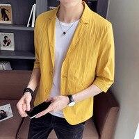 2019 summer new Fashion male suit seven point sleeve shirt Korean short sleeved Hot jacket tide Khaki Yellow Free shipping Thin