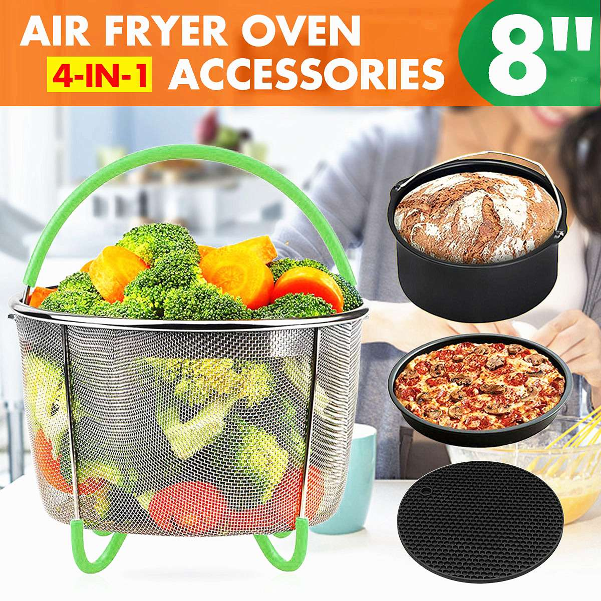4-IN-1 8 Air Fryer Oven Accessories Chips Baking Pan Set Cooking Tool Baking Kitchen Tools For 4.2-6.8QT Air Fryer Oven4-IN-1 8 Air Fryer Oven Accessories Chips Baking Pan Set Cooking Tool Baking Kitchen Tools For 4.2-6.8QT Air Fryer Oven