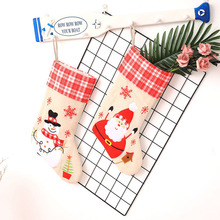 2/pcs Linen Embroidered Christmas Stocking Santa Claus Socks Sacks Xmas Presents Gifts Decorations for Home 2018