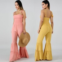 Sexy bodysuit pink jumpsuit Horn Pants body suits for women backless yellow jumpsuit fringe streetwear mono mujer largo elegante