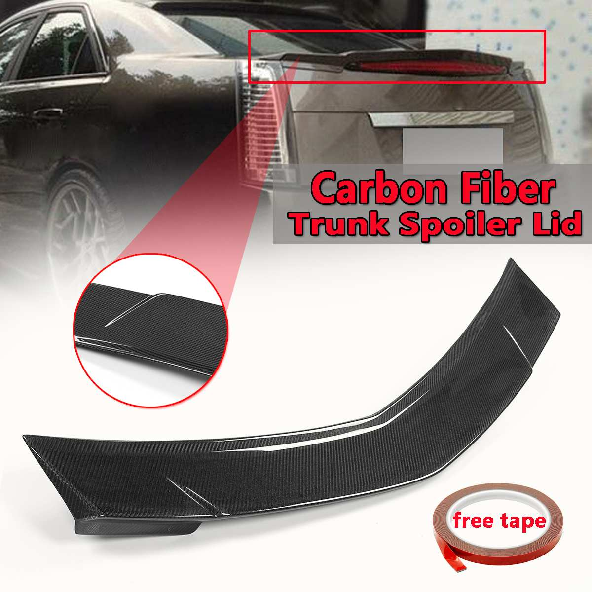 Новый автомобиль настоящий карбоновый задний спойлер багажника крыла для Cadillac CTS Седан 2008 2013 заднего крыла спойлер заднего багажника крыла