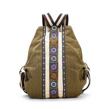 Tribal Ethnic Canvas Womens Backpack Pouch Hippie Shoulder B